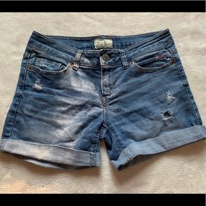 Aeropostale 1/2 Midi Distressed Jean Shorts
